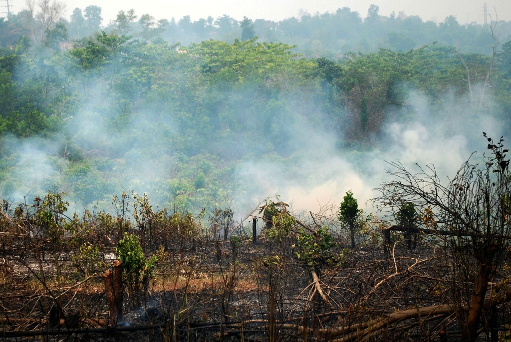 Kepulan asap tebal membumbung ke udara saat terjadi kebakaran lahan di Pekanbaru, Riau, Sabtu (29/8). Data Badan Meteorologi Klimatologi dan Geofisika (BMKG) Pekanbaru pada Sabtu (29/8) mencatat terdapat 291 titik panas di Sumatera. ANTARA FOTO/Rony Muharrman/foc/15.