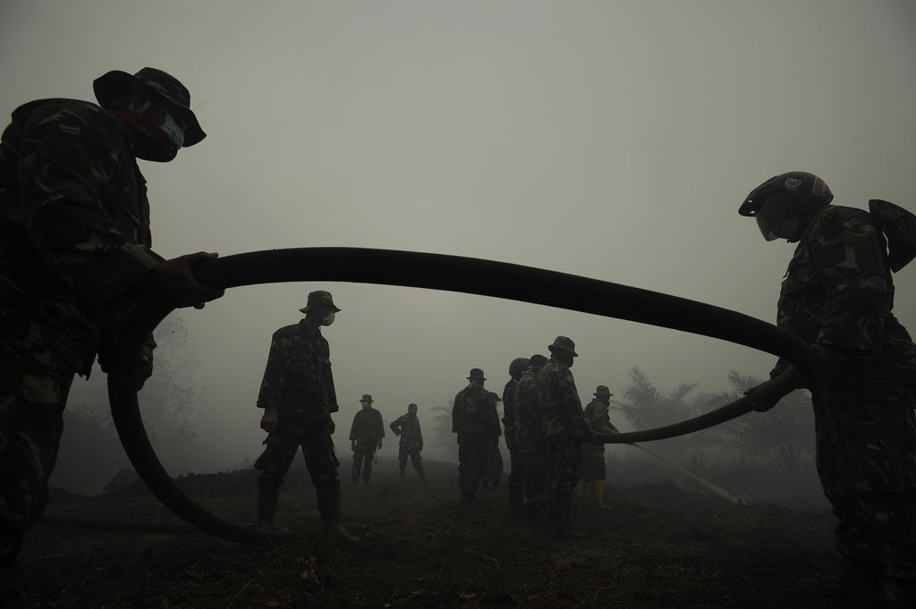 Personel TNI memadamkan api yang membakar perkebunan kelapa sawit di Sungai Aur, Muaro Jambi. ANTARA FOTO/Wahyu Putro A