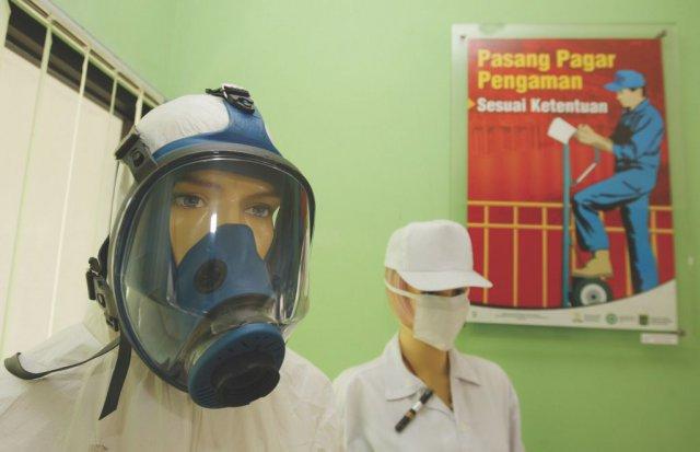 Ketentuan keselamatan dalam beraktifitas di lingkungan Badan Tenaga Nuklir Nasional, Serpong, Jawa Barat. BATAN/safety procedure