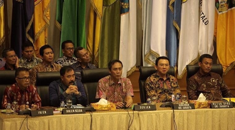 Raperda APBD DKI Jakarta di Kantor Kemendagri, Jakarta, Kamis (5/3) untuk menyelesaikan kisruh APBD antara Ahok dan DPRD DKI. ANTARA/Muhammad Adimaja