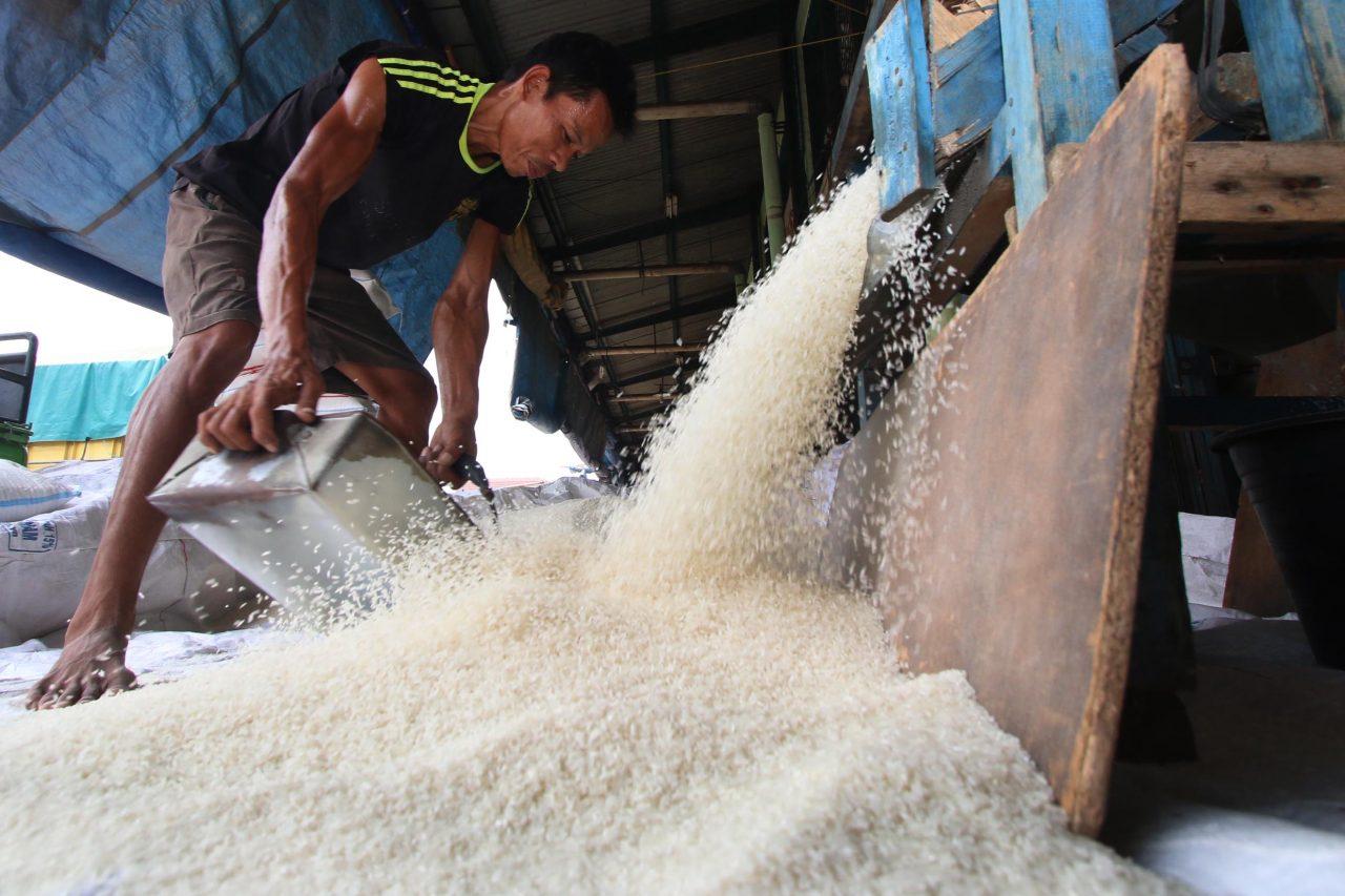 Pekerja merapikan beras di Pasar Induk Beras Cipinang (PIBC) Jakarta, Senin (30/11). Para pedagang beras di pasar tersebut mengatakan pasokan beras medium atau kualitas III atau beras IR 64 mulai berkurang, kondisi yang sudah terjadi beberapa bulan ini menyebabkan harga beras medium naik sampai di atas Rp 9.000 per kg dari tingkat normal di Rp 8.200-8.300 per kg. ANTARA FOTO/Rivan Awal Lingga/pd/15