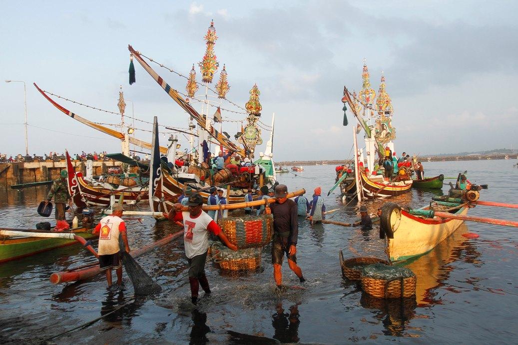 Sejumlah nelayan mengangkut ikan dari kapal ke TPI Pengambengan, Bali, Kamis (19/11). Ikan merupakan salah satu komoditi utama di kawasan tersebut, saat ini ikan terbanyak adalah ikan Lemuru dengan harga jual Rp4.000 per kg dan ikan Layang yang berharga Rp7.000 per kg. ANTARA FOTO/Regina Safri