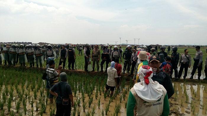 Ribuan personel gabungan didatangkan untuk ikut melakukan pengukuran lahan di Desa Sukamulya, Majalengka, Kamis (17/11/2016). Kedatangan mereka ditolak oleh warga setempat, dan menyebabkan penembakan gas air mata dan perusakan sawah.