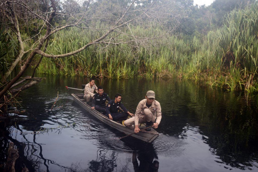 Sejumlah jagawana berpatroli menyusuri sungai di dalam kawasan Restorasi Ekosistem Riau di Kabupaten Pelalawan, Riau, Selasa (1/11). Restorasi Ekosistem Riau merupakan kawasan konservasi dengan pengelolaan kolaboratif yang melibatkan sektor swasta, yakni APRIL Group, yang mengalokasikan 100 juta dolar AS untuk merestorasi dan menjaga hutan rawa gambut seluas sekitar 150 ribu hektare, terutama untuk melindungi kubah gambut di Semenanjung Kampar. ANTARA FOTO/FB Anggoro/kye/16.
