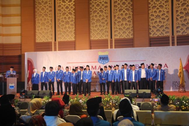 Sebanyak 100 lebih Pengurus Besar Pergerakan Mahasiswa Islam Indonesia (PB PMII) dikukuhkan di Jakarta Islamic Center, Jakarta Utara Minggu (1/10/2017).
